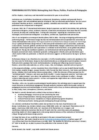 Call for Papers - ARTeFACTo 2018PERFORMING INSTITUTIONS: Reimagining their Places, Politics, Practices & Pedagogies