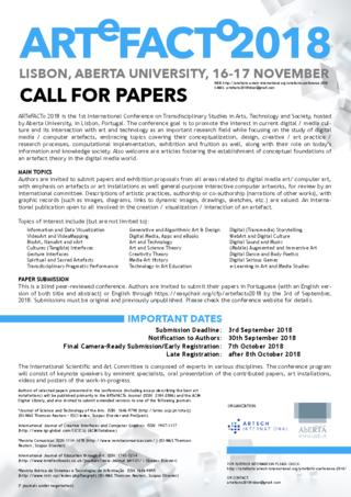 Call for Papers: ARTeFACTo 2018