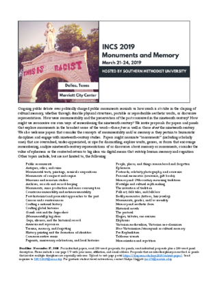 CFP: INCS 2019: MONUMENTS AND MEMORY