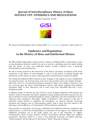 CfP: EPIDEMICS AND REGULATIONS