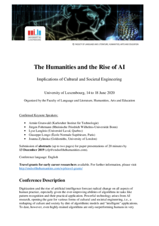 CfP: Humanities and the Rise of AI. Implications of Cultural and Societal Engineering