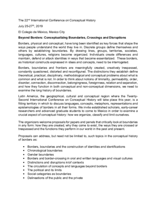 CFP: Beyond Borders: Conceptualizing Boundaries, Crossings and Disruptions