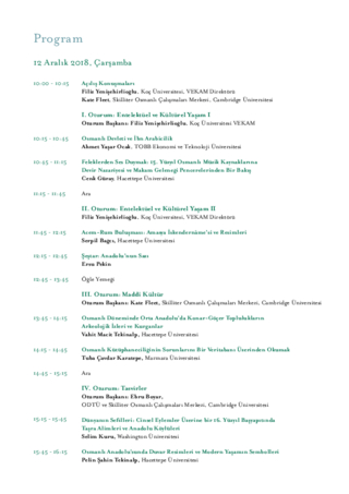 Conference Programme: SOCIAL AND CULTURAL LIFE IN OTTOMAN ANATOLIA SYMPOSIUM