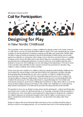 CfP Designing for Play in New Nordic Childhood at BIN-Norden Conference