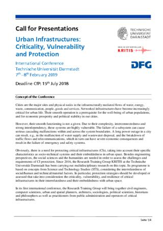 Call for Presentations: Urban Infrastructures: Criticality, Vulnerability and Protection
