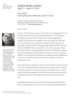 Press Release, Lebbeus Woods (The Drawing Center, New York)