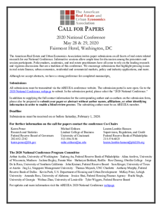 CFP: American Real Estate and Urban Economics Association (AREUEA) 2020 National Conference