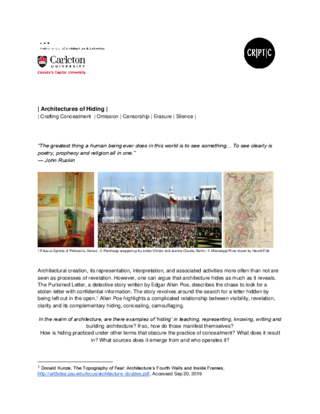 CfP - Architectures of Hiding: Crafting Concealment  | Omission | Censorship | Erasure | Silence