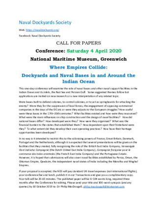 CfP - Where Empires Collide: Dockyards and Naval Bases in and around the Indian Ocean