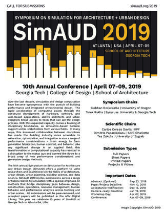 Call for Submissions - SimAUD 2018: Symposium on Simulation for Architecture + Urban Design