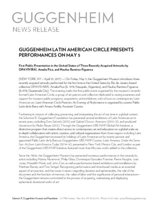 Press Release, First Public Presentation in the United States of Three Recently Acquired Artworks by OPAVIVIRÁ!, Amalia Pica