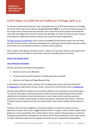 CFP: SAH 2015 Annual Conference 2015