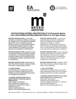 CALL FOR PAPERS: JOURNAL MATERIA ARQUITECTURA N°18