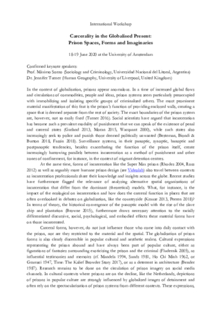 CfP - Carcerality in the Globalised Present: Prison Spaces, Forms and Imaginaries