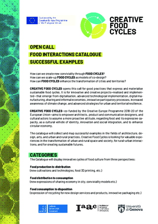 Open Call:CREATIVE FOOD CYCLES- FOOD INTERACTIONS CATALOGUE