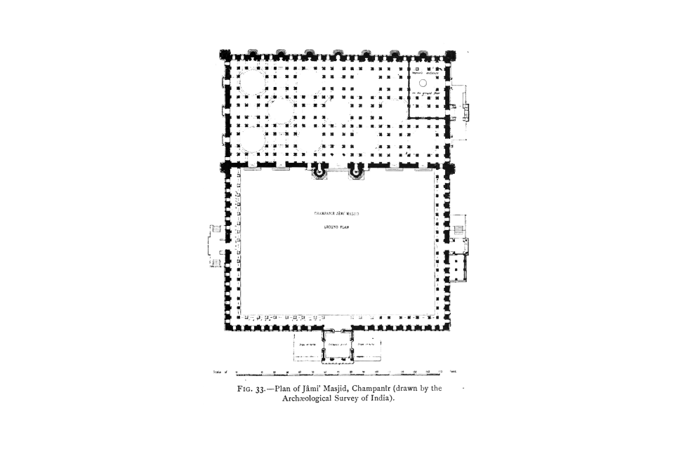 33. Plan of Jâmi' Masjid, Champanîr (drawn by the Archaeological Survey of India).