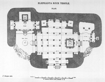 After Plate LXXXV - Elephanta Rock Temple, Plan in Fergusson, James, and James Burgess. The Cave Temples of India. London: 1880.
