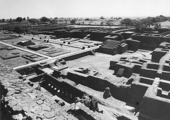 Excavated monastic structures - from main temple, Site 3  Nalanda, structure