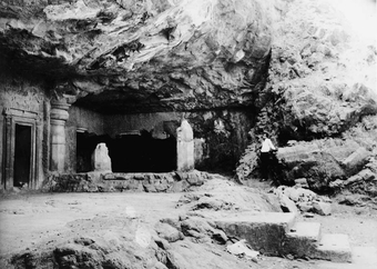 Cave 4 - Porch, right end chamber and a cell  Elephanta, rock-cut cave