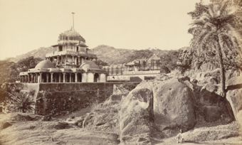 """Plate VII. Mount Abu, The Jain Temples at Delwada in Burgess, James. """"The Temples of Delwada."""" In Photographs of Architecture and Scenery in Gujarat and Rajputana"""