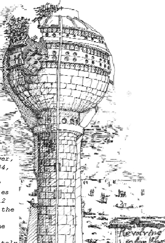 Water Tower, circa 1984, built to withstand earthquakes of upto 12 point on the Richter scale. The tower, unfortunately collapsed during construction.