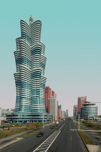 One of Pyongyang's new, futuristic-looking buildings on Mirae Scientists Street.