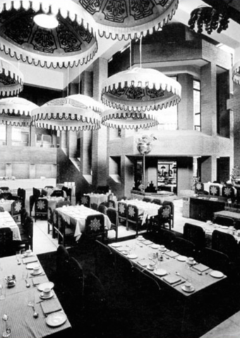 Restaurant interior. There are four restaurants, each with 'its own character' at the garden level, as are conference rooms and a ballroom