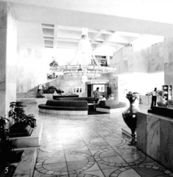 Reception Lobby, white marble is used extensively and set in distinctive circular patterns