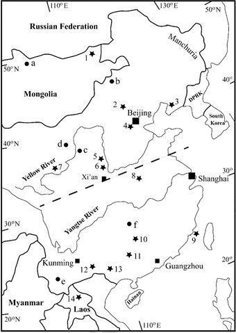 Figure 2. Fossil hominin and early Upper Palaeolithic sites in China and neighbouring countries