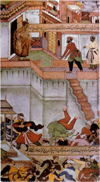 Fig. 1. Execution of Adham Khan, painting by Miskin and Sankar. From a manuscript of the Akbarnama, ca. 1590. Victoria and Albert Museum, no. 2, 1896, I.S. 29.117