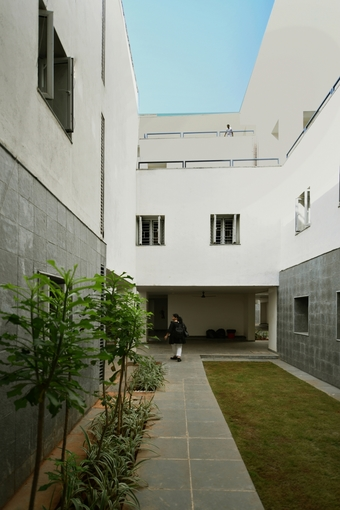 Cascading terraces overlooking the courtyard