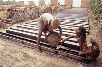 Structural system of basic units: concrete posts for the houses have been pre-fabricated, but in a far less energy-intensive way