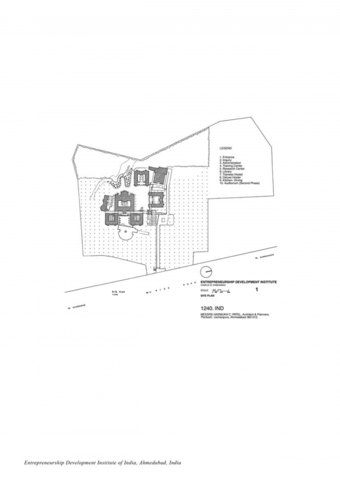 Site plan, showing gardens with roof plan of the building