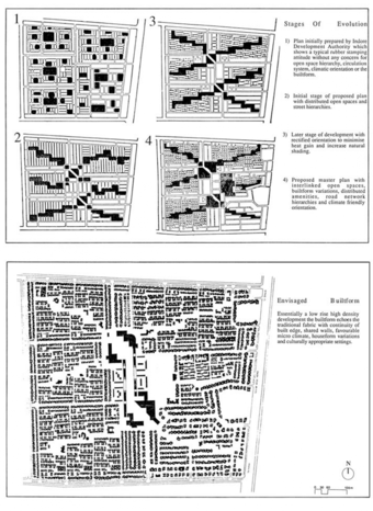 Master Plan - process, (1) the plan prepared by Indore Development Authority, (2) Initial proposed plan with distirbuted streets, (3) rectification for climate and performance reasons, (4) Proposed masterplan (top) and envisaged form