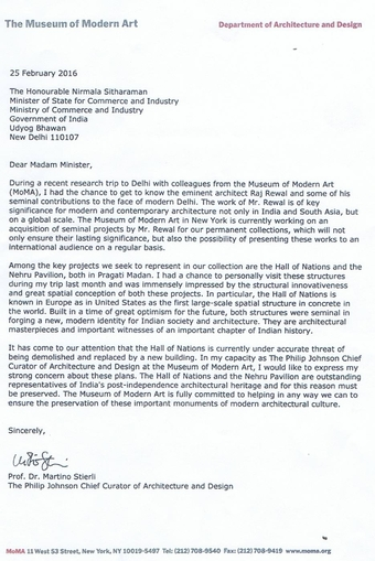 Letter sent on 25th February 2016 by Prof. Dr. Martino Stierli, Museum of Modern Art to The Minister of State for Commerce and Industry, India