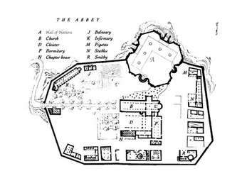 """The mystery revolves around the abbey library, situated in a fortified tower—the aedificium—in Umberto Eco's """"The Name of the Rose"""" (1980)"""