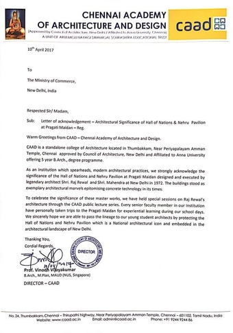 Letter sent on 10th April 2017 by Prof. Vinodh Vijayakumar, Director, Chennai Academy of Architecture and Design to The Ministry of Commerce