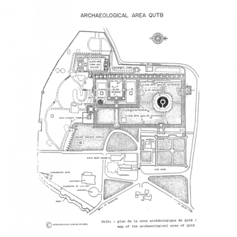 """Map of the Archaeological Area of Qutb"", drawing from the World Heritage Nomination List, The Qutb Minar and its Monuments, no. 233. Oct 1992"