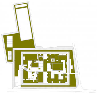 Site plan showing the greens