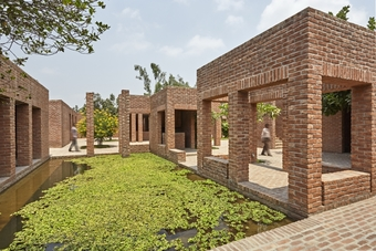 The 'Ka' Block contains the reception pavilion, offices, library, training/conference rooms and pavilions, a prayer space and a small 'cha-shop'