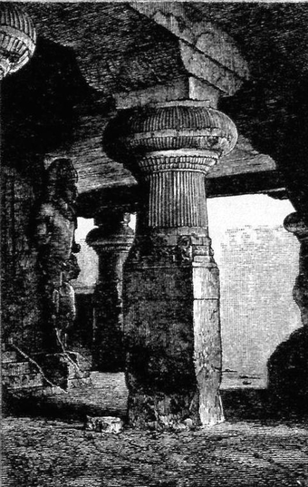 Woodcut 65: Pilar on a cave in Elephanta in Fergusson, James, and James Burgess. The Cave Temples of India. London: 1880