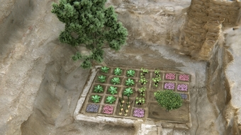 Reconstruction of the funerary garden unearthed by CSIC.