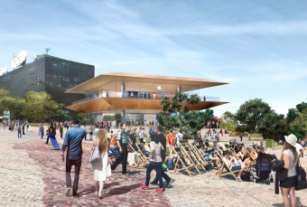 A rendering of Melbourne's future Apple Store, which will be built in the city's Federation Square
