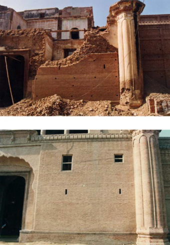 Views of the haveli before and after intervention