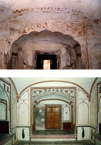 Bath house, before and after restoration