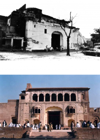 View of entrance Dewrhi before and after conservation