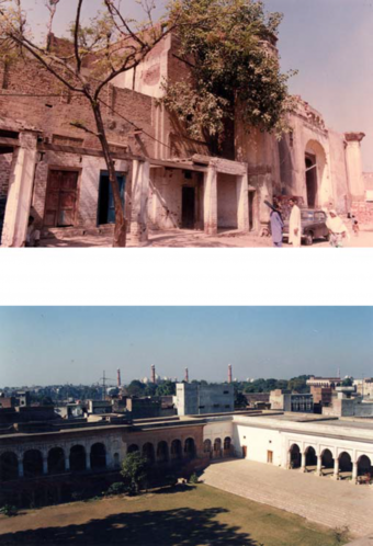 Outside views of the main haveli before and after restoration