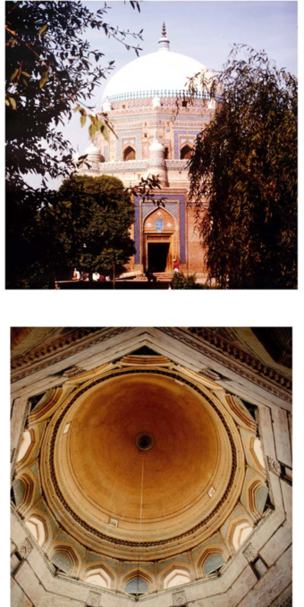 The tomb with a new gate in the foreground (top) and interior of the repaired dome and the drum (note the repaired cracks in the dome)