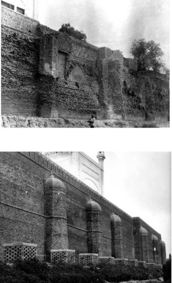 The high northern compound wall (foundations exposed before restoration) and after