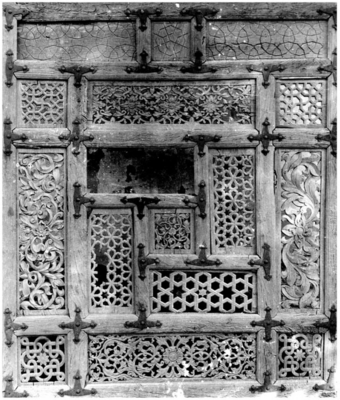 Original carved wooden door of the mausoleum, 1971